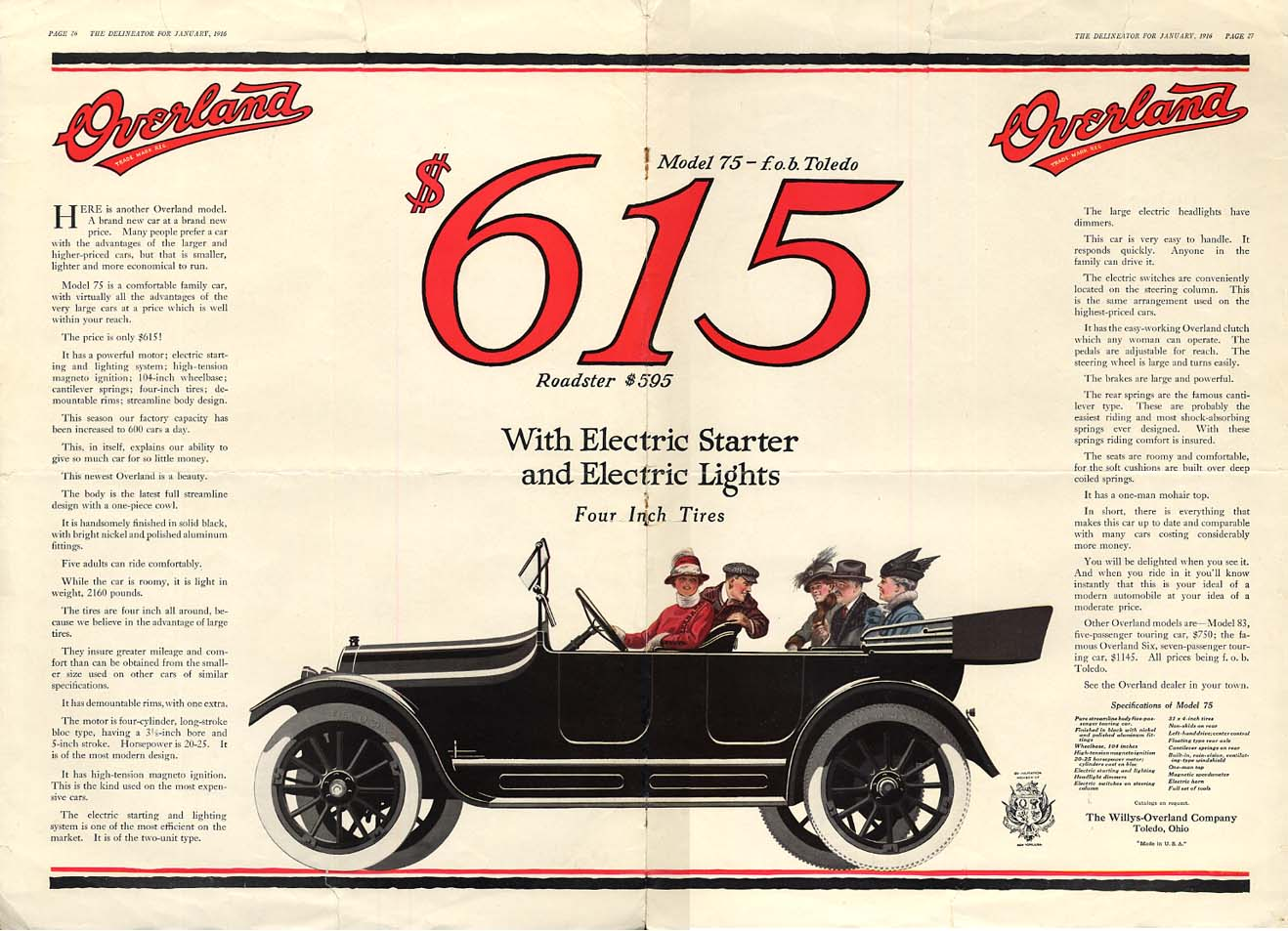 Image for Model 75 Roadster $615 with Electric Starter & Lights - Overland ad 1916