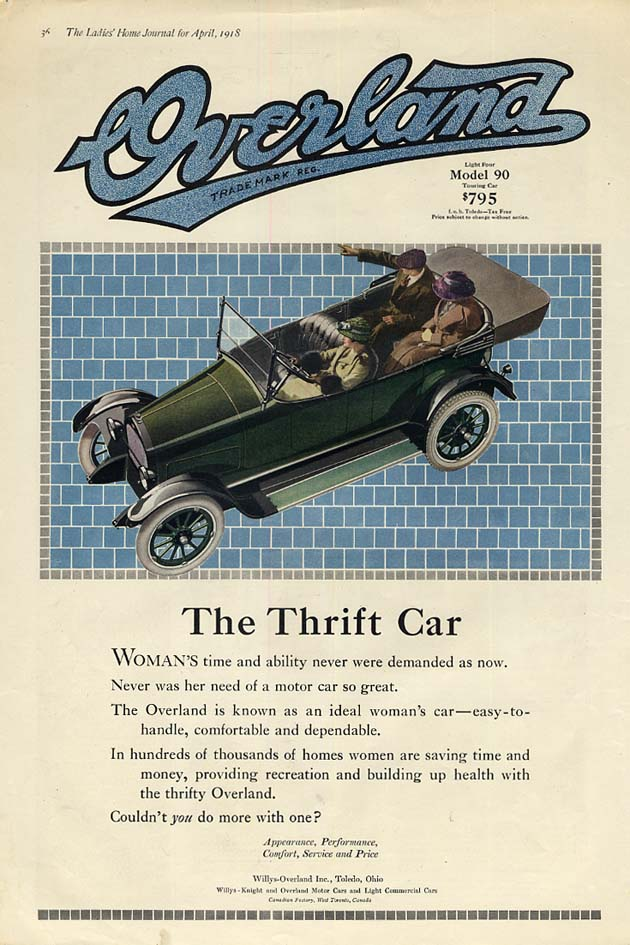 Image for The Thrift Car - Overland Model 90 Touring Car ad 1918 LHJ