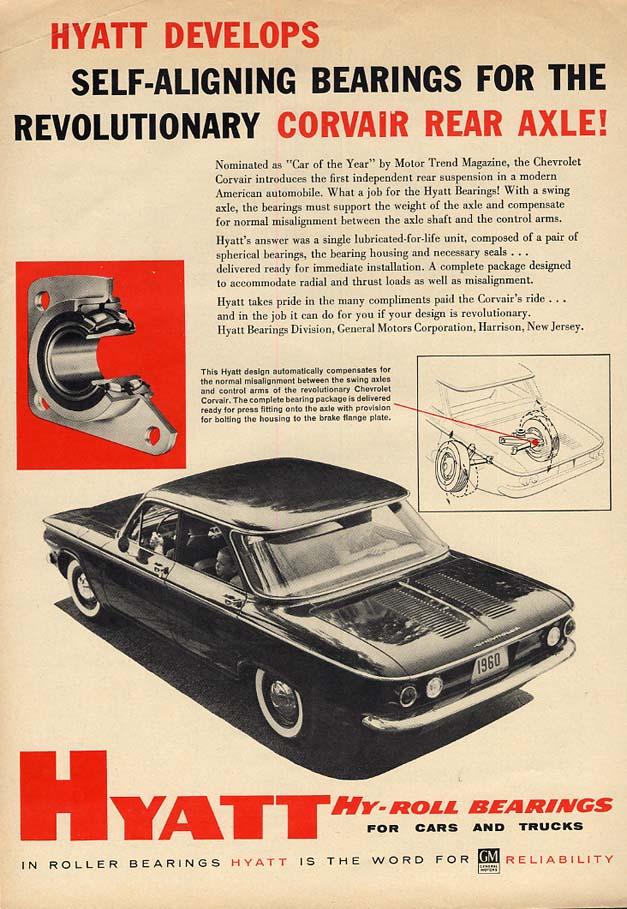 Hyatt Develops Self-Aligning Bearings for Corvair Rear Axle! Ad 1960