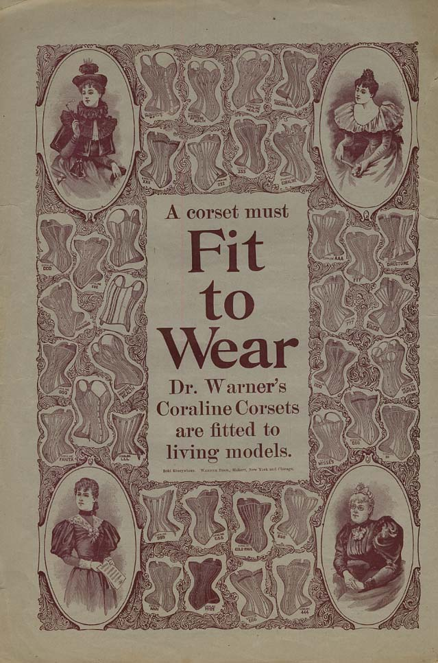 A corset must Fit to Wear - Dr Warner's Coraline girdle ad 1894