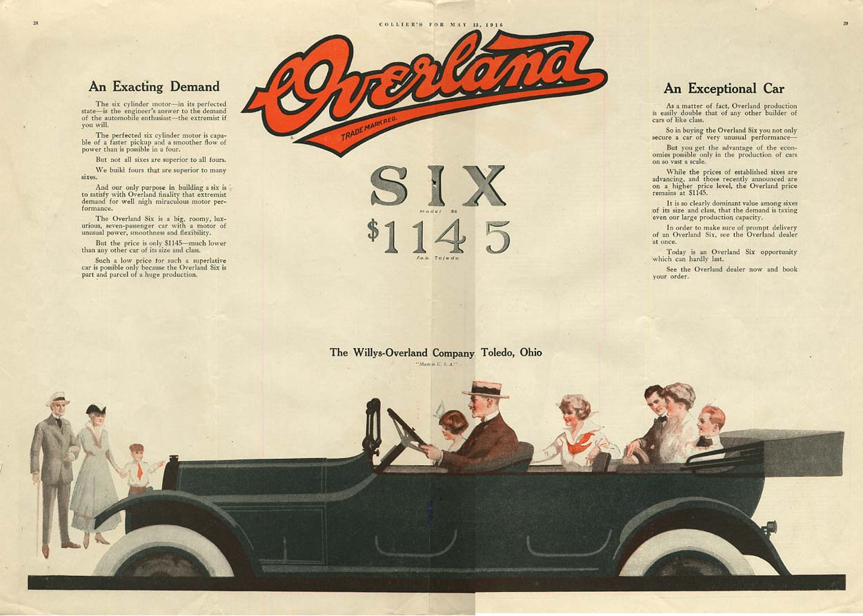 Image for An Exacting Demand - An Exceptional Car - Overland Six Touring Car ad 1916