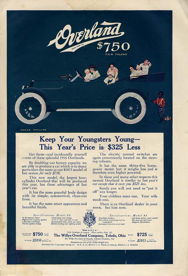 Image for Keep Your Youngsters Young - Overland Touring Car ad 1916 Coles Phillips