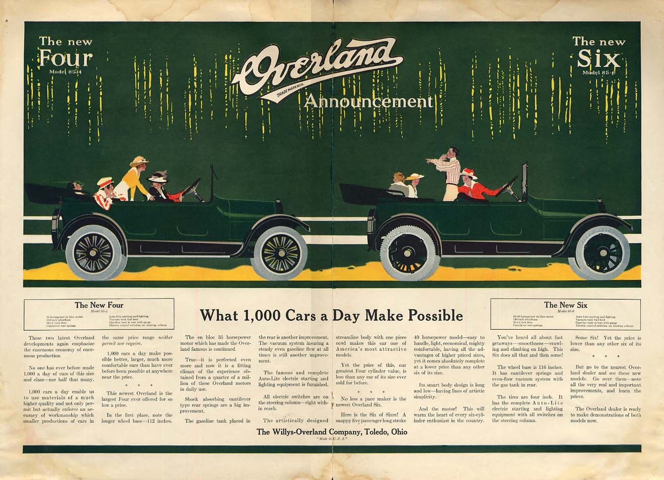 Image for What 1,000 Cars a Day Make Possible - Overland Four & Six ad 1916