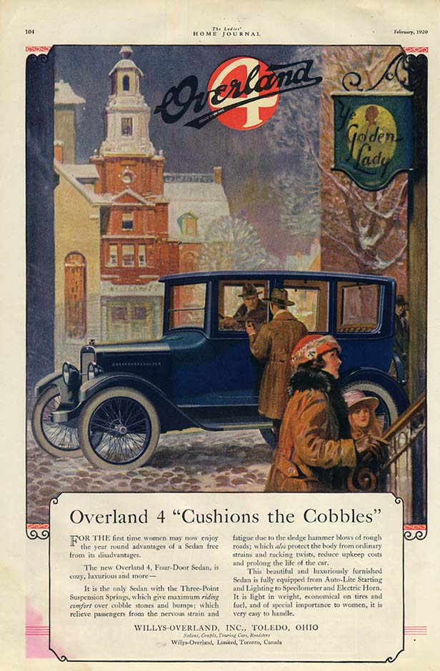 Image for Overland 4 Cushions the Cobbles 4-door sedan ad 1920 LHj