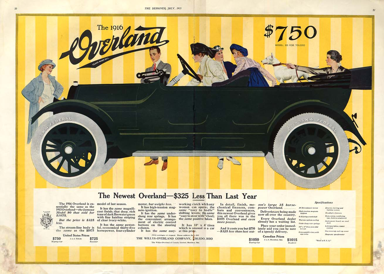 Image for The Newest Overland Youring Car $325 Lesss Than Last Year ad 1916