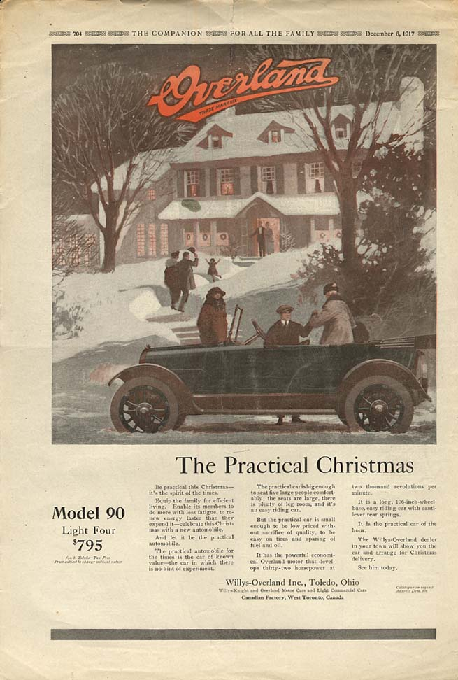 Image for The Practical Christmas - Overland Model 90 Light Four Touring Car ad 1918