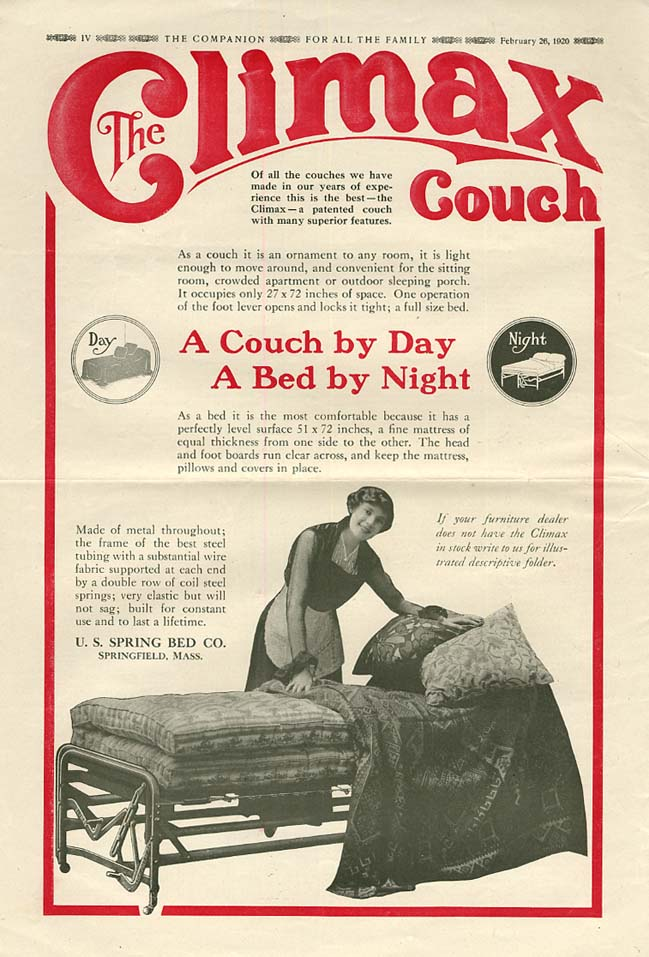 Image for A Couch by Day - A Bed by Night - The Climax Couch ad 1920