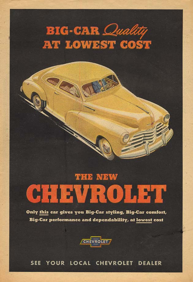 Big Car Quality at Lowest Cost - Chevrolet 2-door Sedan ad 1948 AW