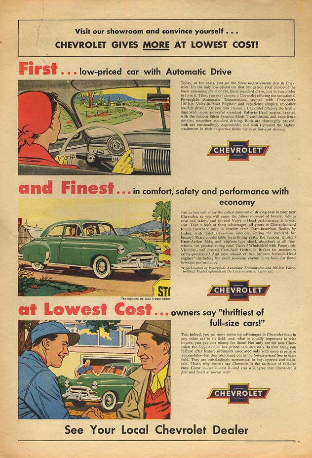 Chevrolet Gives More at Lowest Cost! Ad 1950 AW