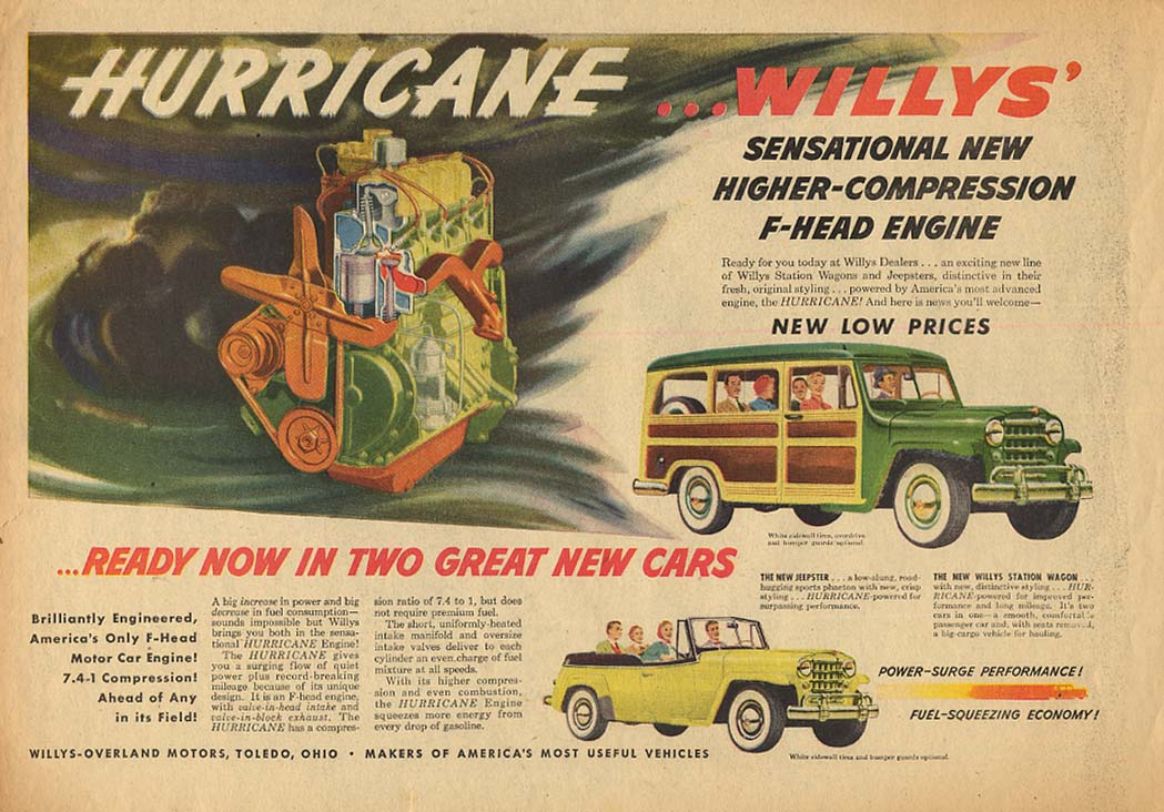 Image for Hurricane Higher-Compression Engine ad Jeepster & Jeep Wagon ad 1950 AW