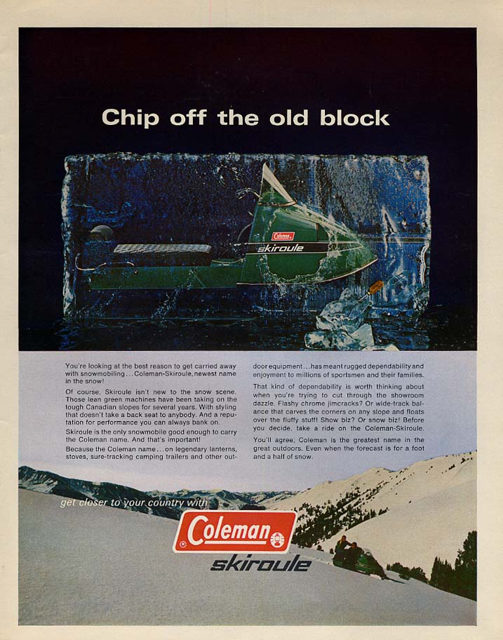 Chip off the old block - Coleman Skiroule Snowmobile ad 1970 L