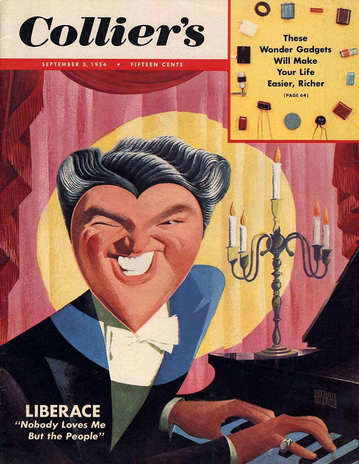 COLLIER'S COVER 9/3 1954 Liberace by Hirschfeld