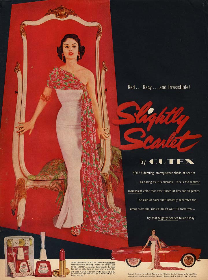 Image for Red Racy & Irresistible! Cutex Slightly Scarlet Nail Polish ad 1955 Thunderbird