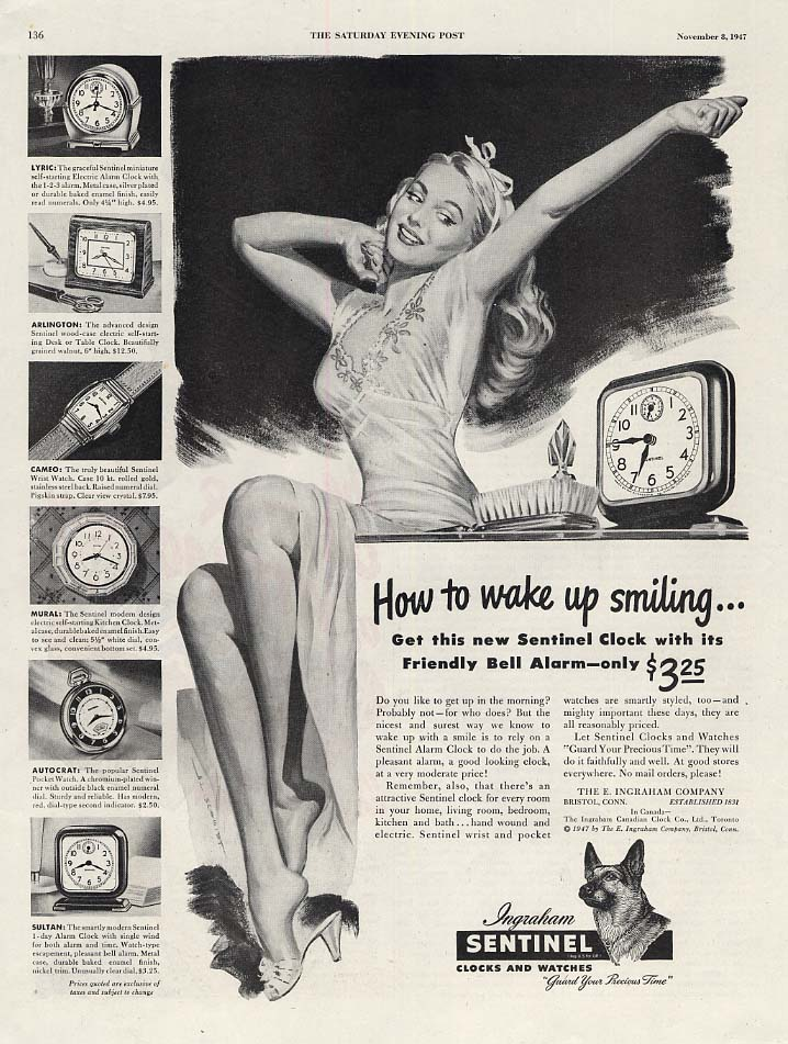 How to wake up smiling Ingraham Sentinel Alarm Clock ad 1947 Schmidt pin-up art