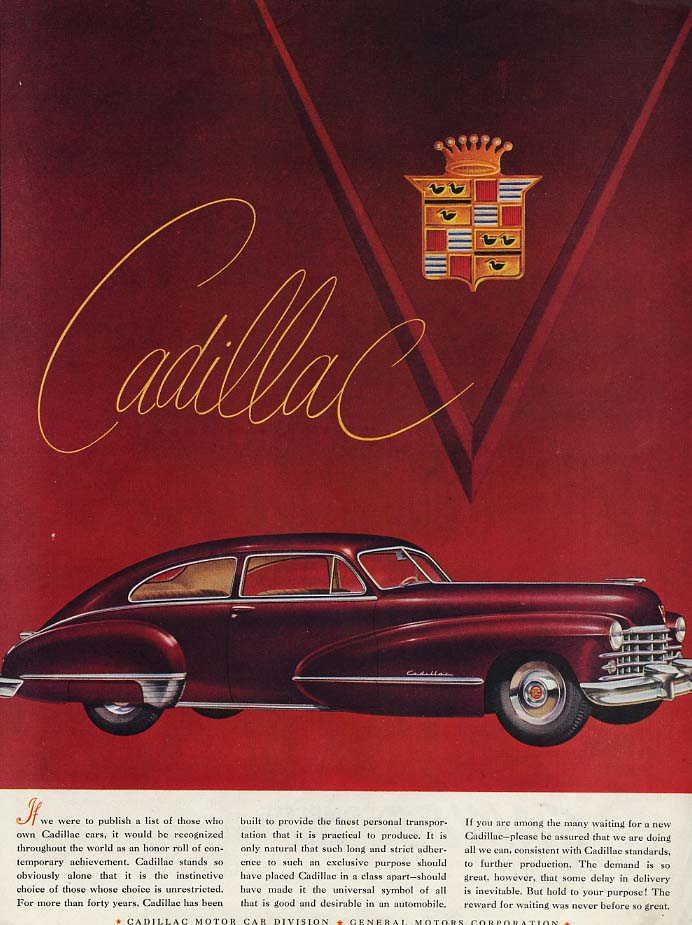 If we were to publish a list of Cadillac 2-door fastback owners ad 1947 SEP