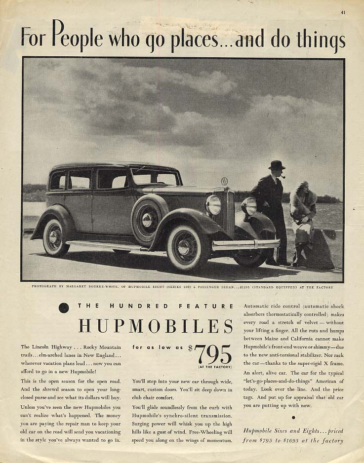 For People who go places & do things Hupmobile 8 ad Margaret Bourke-White