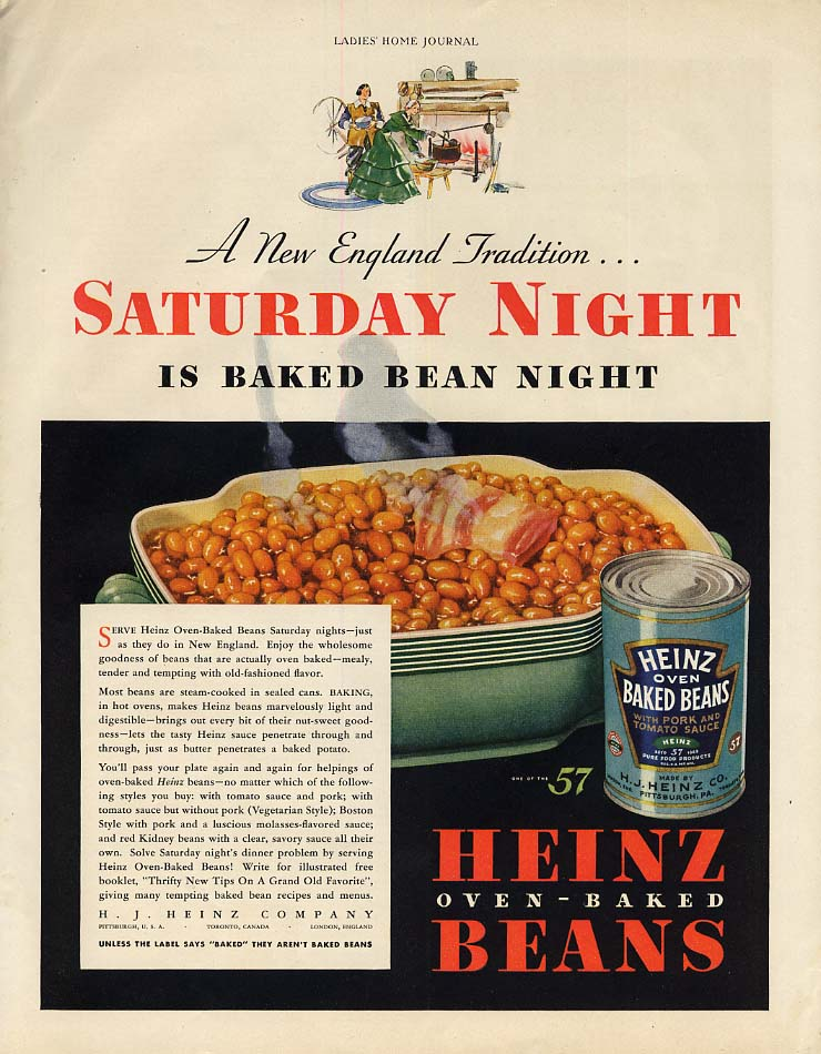 A New England Tradition Saturday Night Heinz Baked Bean Night ad 1933 LHJ