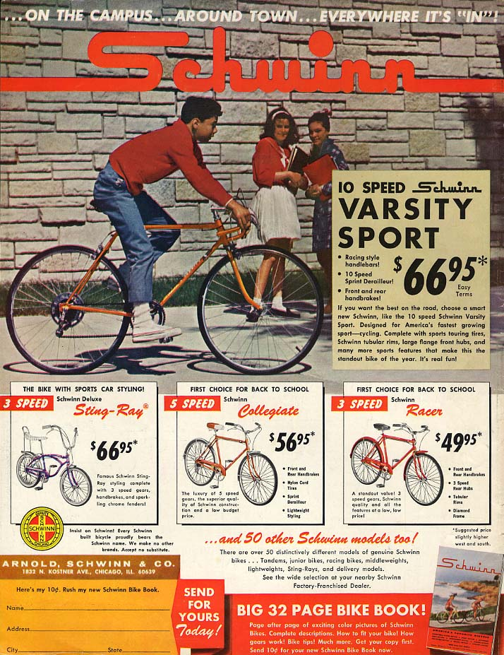 Schwinn Varsity Sport Sting-Ray Racer Collegiate magazine ad 1965 BL