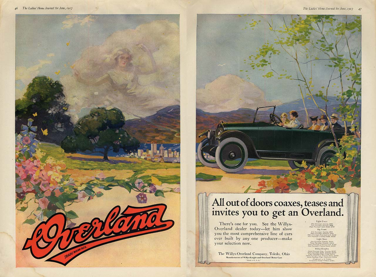 Image for All out of doors coaxes teases & invites you - Overland Touring Car ad 1917 LHJ