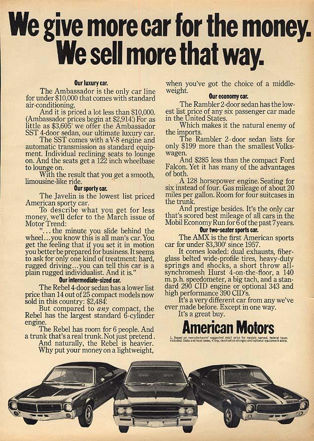 We give more car for the money AMC Javelin Ambassador AMX ad 1969