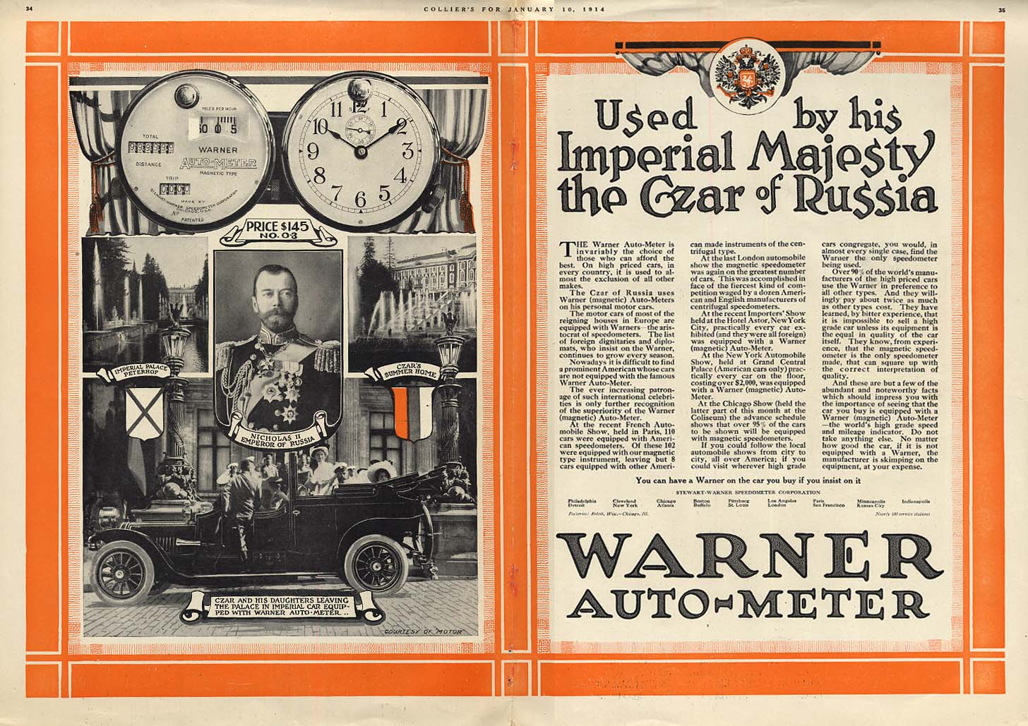 Image for Used by His Imperial Majesty the Czar of Russia - Warner Auto-Meter ad 1914 Col