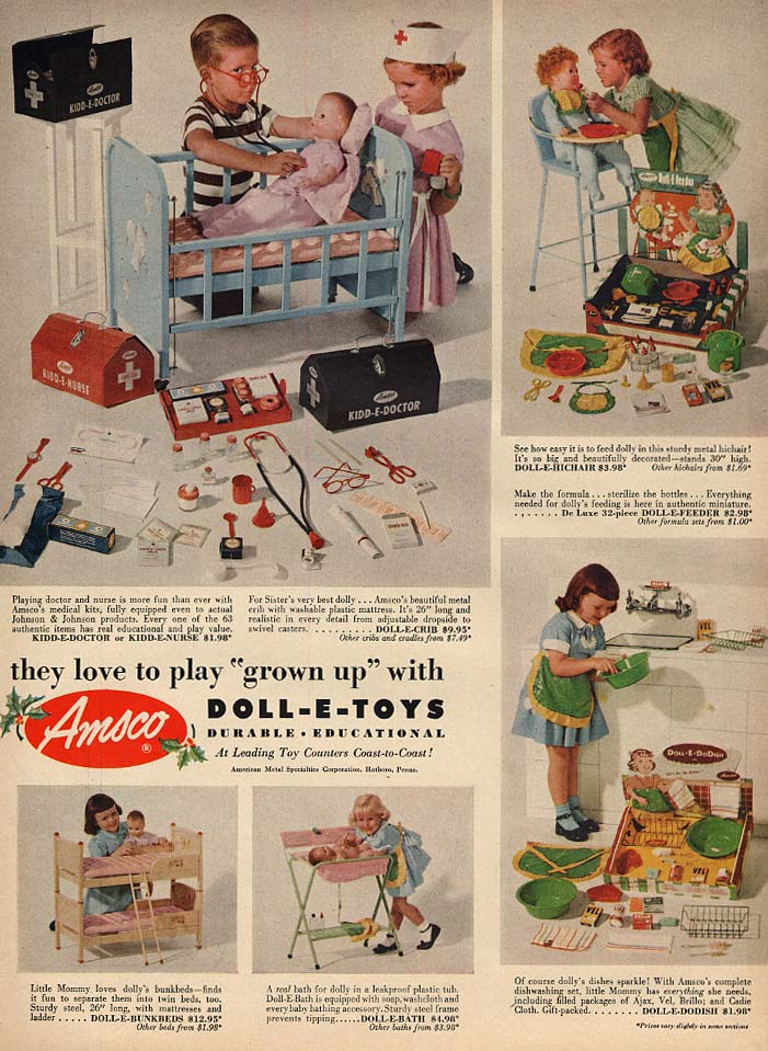 Amsco Doll-E-Toys ad 1952 Kidd-E-Doctor High Chair Doll-E-DoDish L
