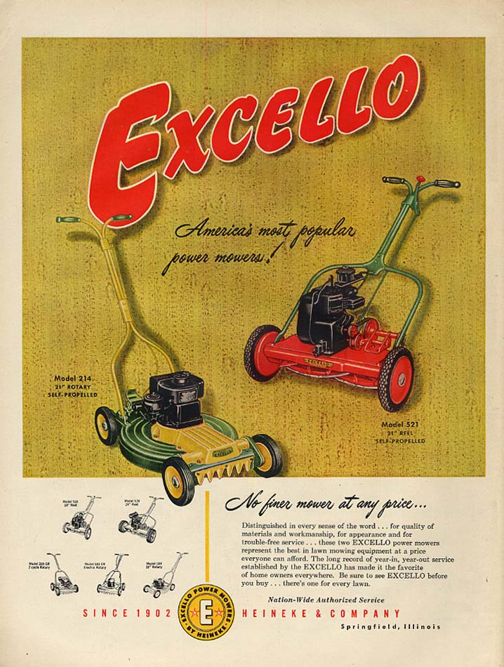 America's most popular power mower! Excello Model 521 & 214 ad 1954