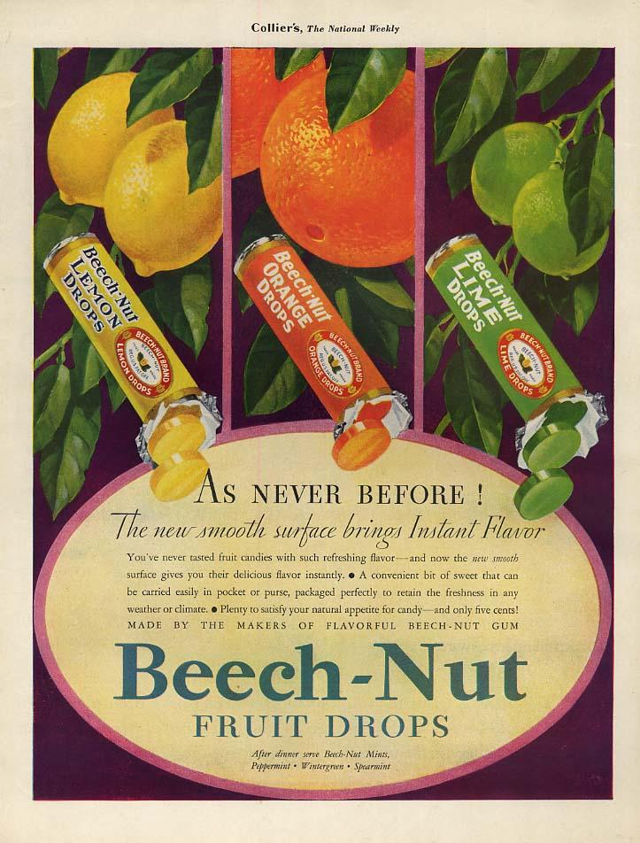 As Never Before! Beech-Nut Fruit Drops ad 1930s orange lemon lime