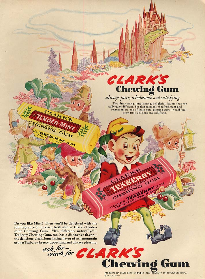 Always pure wholesome & satisfying Clark's Chewing Gum ad 1943 L