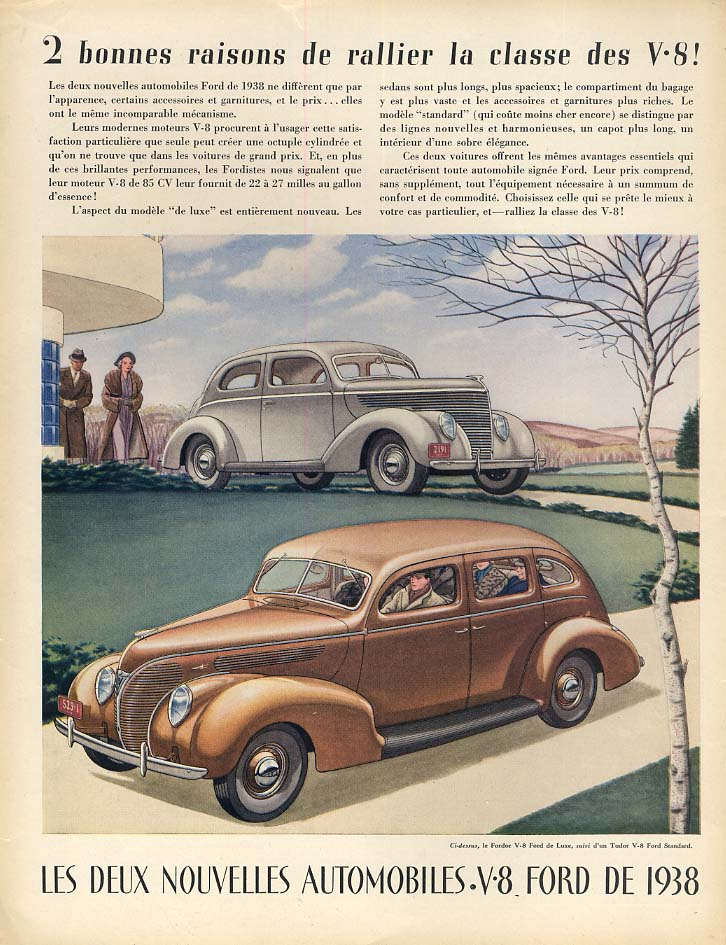 2 bonnes raisons de rallier la classe des V-8 Ford ad 1938 in French