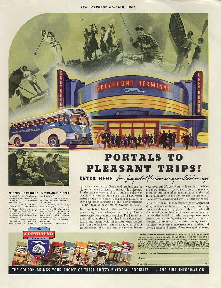 Portals to Pleasant Trips? Greyhound Bus Terminal ad 1937 SEP
