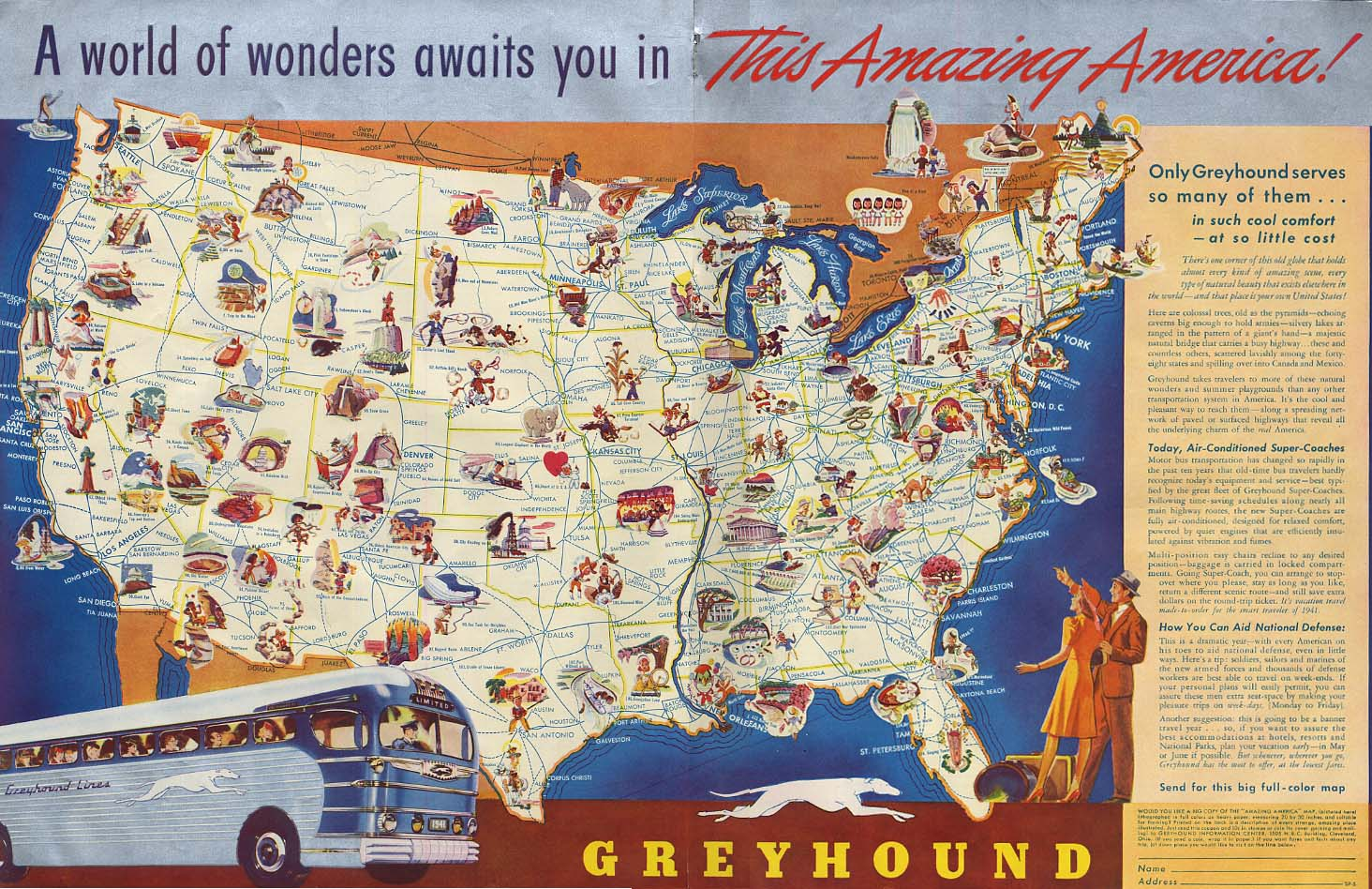 A World of Wonders awaits you in this Amazing America Greyhound Bus ad 1941 SEP