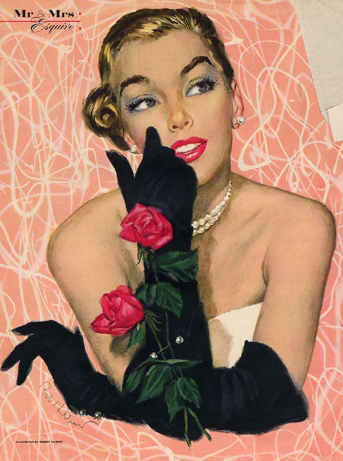 Robert Hilbert glamour girl blonde with roses magazine illustration page 1952 Es
