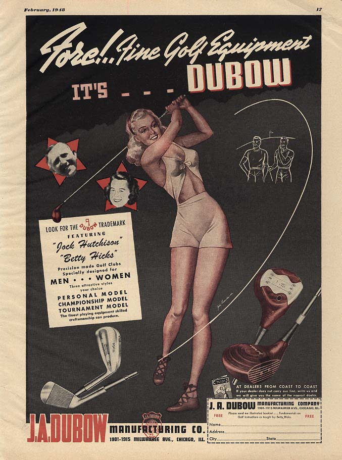 Image for Fore! Fine Golf Equipment by Dubow ad 1948 ESQ pin-up gal short shorts halter