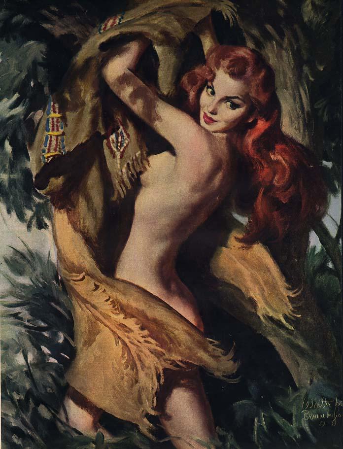 Walter Baumhofer illustration redhead nude in buckskin: Esquire 1952