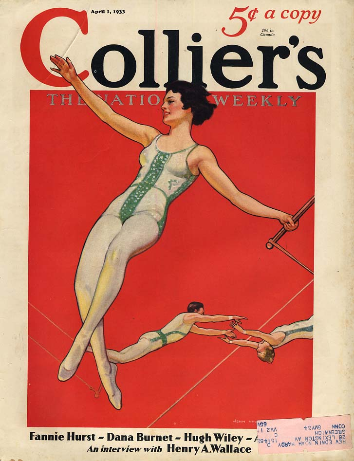 COLLIER'S COVER 4/1 1933 Girl trapeze act by John Newton Howitt