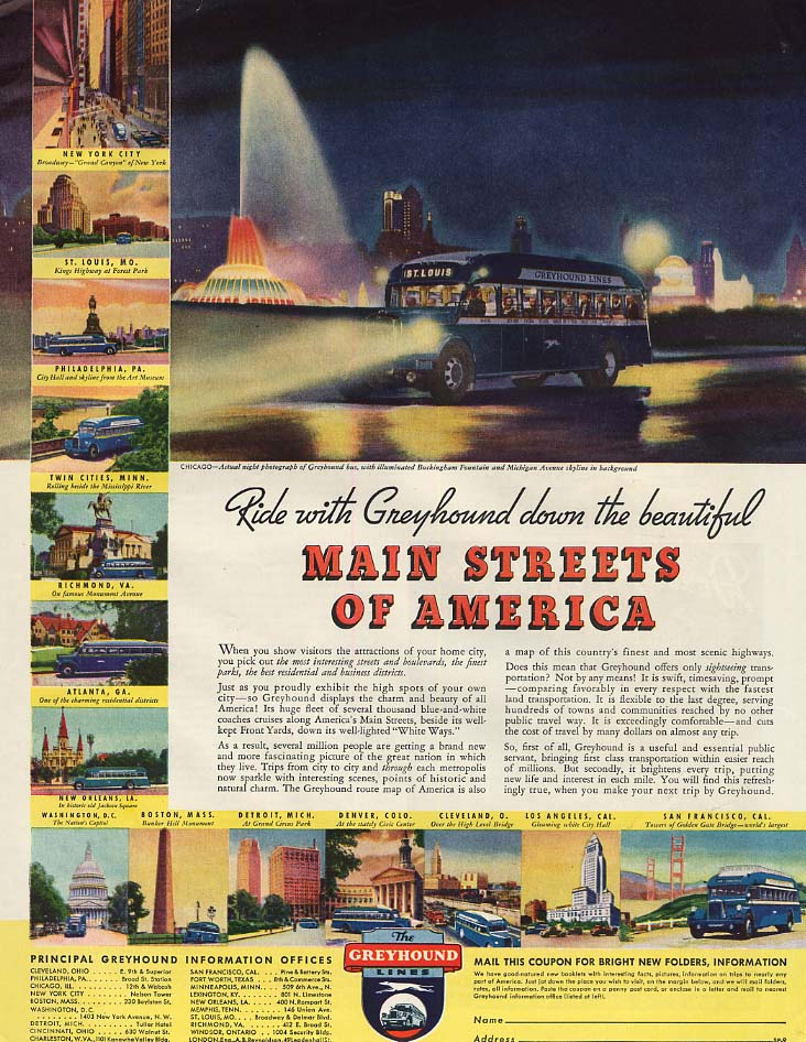Ride with Greyhound Bus down the Main Streets of America ad 1935 SEP