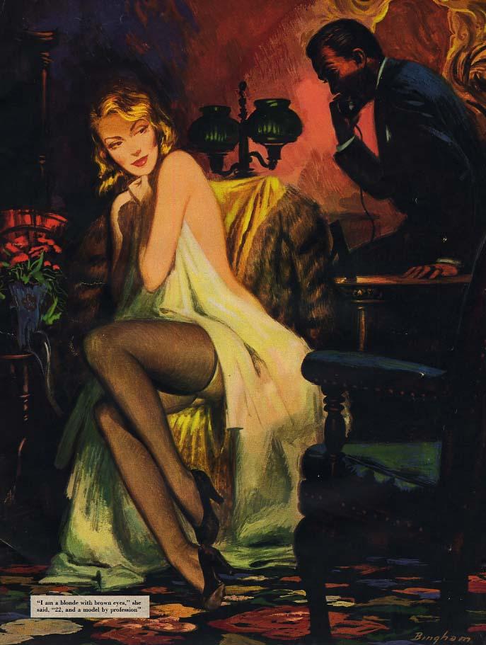 Image for James Bingham magazine illustration page: blonde nude under sheet Esquire 1952
