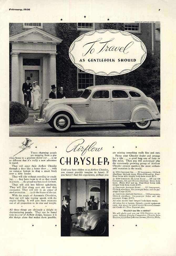 Image for To Travel as Gentlefolk Should - Chrysler Airflow ad 1936 ESQ