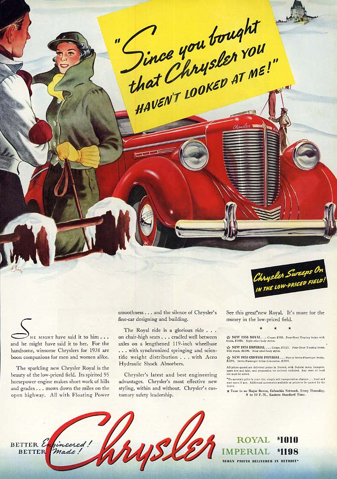 Image for Since you bought that Chrysler you havent looked at me! Ad 1938 ESQ