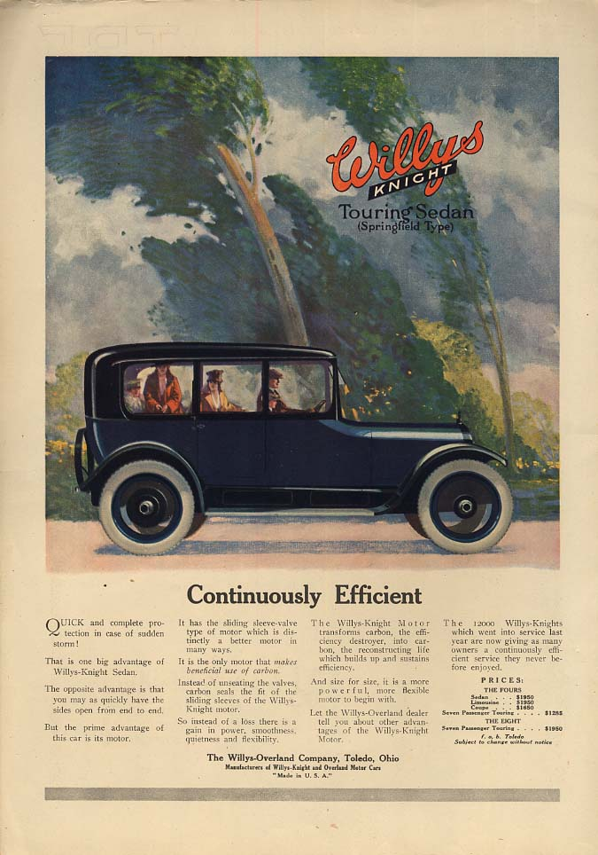 Image for Continuously Efficient - Willys-Knight Touring Sedan ad 1917 Th