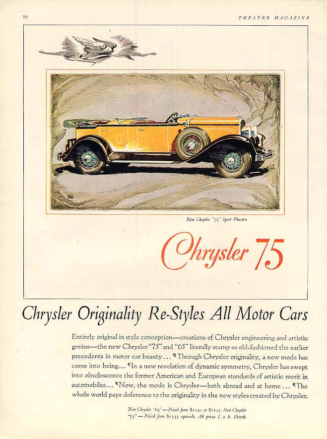 Image for Originality Re-Styles All Motor Cars Chrysler 75 Sport Phaeton ad 1929 Th