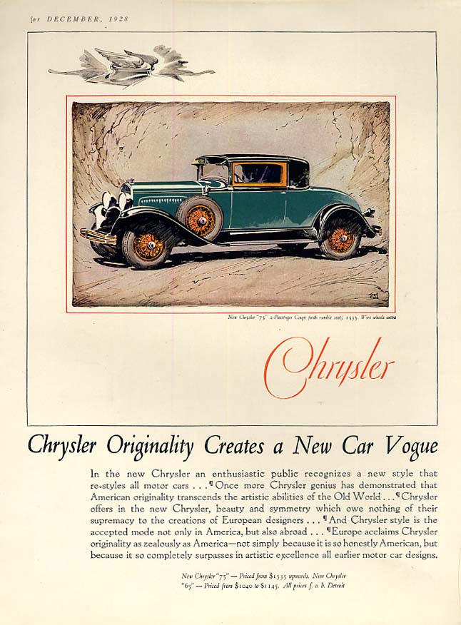 Image for Originality Creates a New Car Vogue - Chrysler 75 Coupe ad 1929 Th