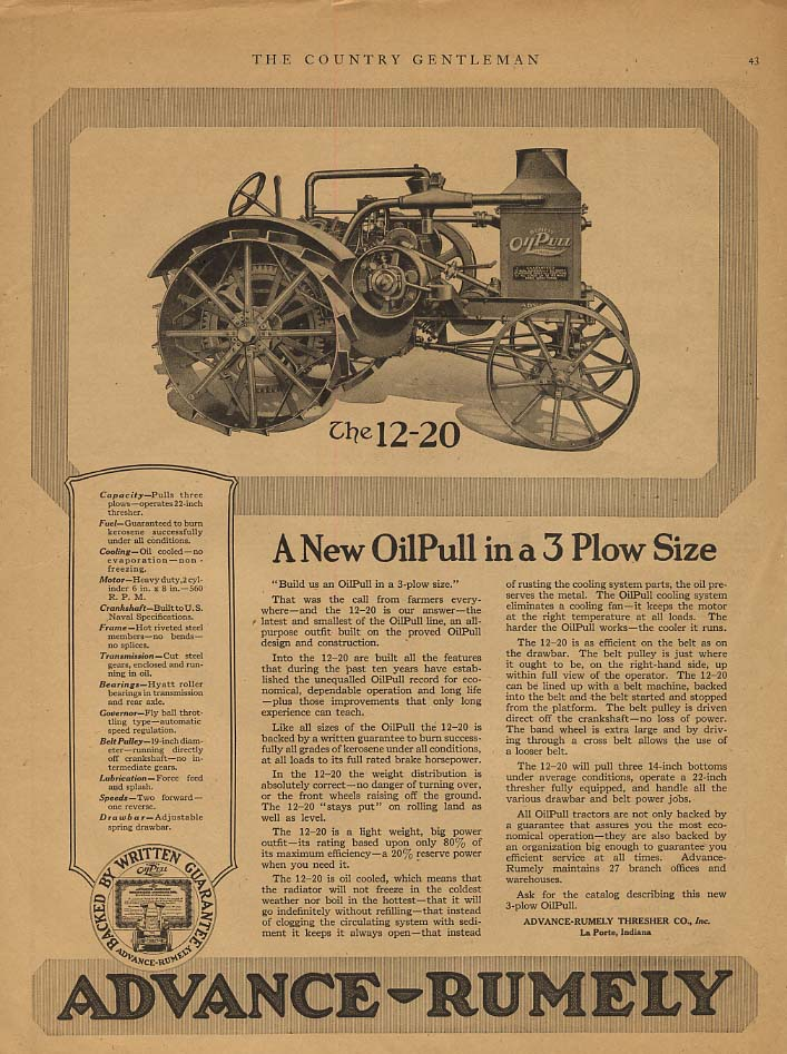 A New Advance-Rumely OilPull 12-20 Tractor in 3 plow size ad 1919