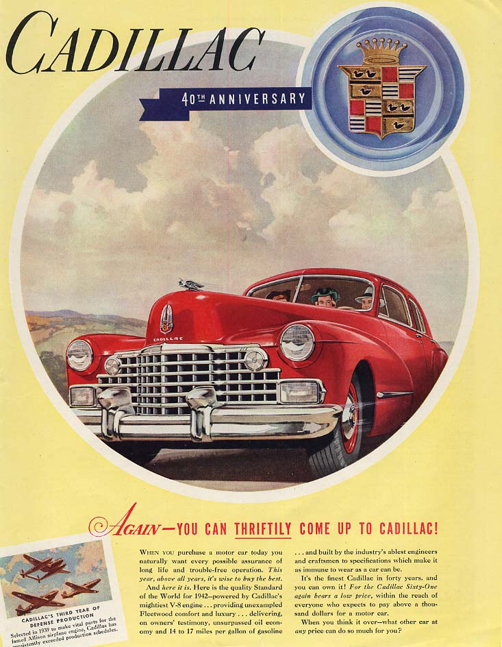 Again - You Can Thriftily Come Up to Cadillac ad 1942 SEP