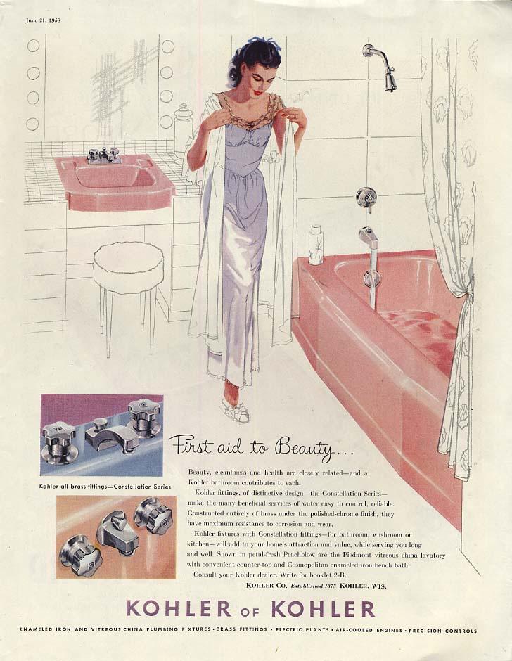 Image for Kohler Tub woman gets ready to bathe / Ford Thunderbird & Skyliner ad 1958