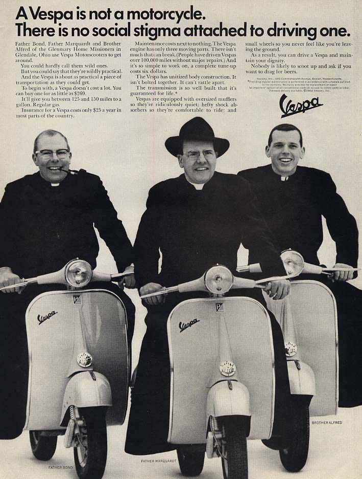 Image for No social stigma attached to driving one Vespa Motorscooter ad 1965 L