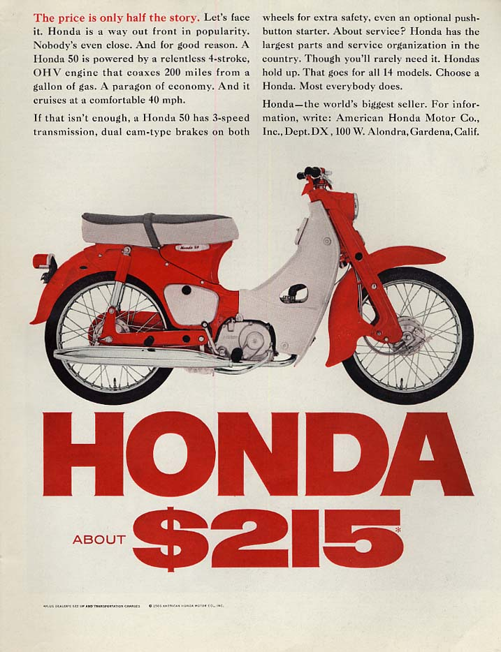 Image for The price is only half the story - Honda 50 Motorcycle ad 1965 SEP