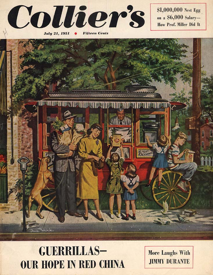 COLLIER'S COVER 7/21 1951 Family at the Popcorn Wagon by Dave Mink
