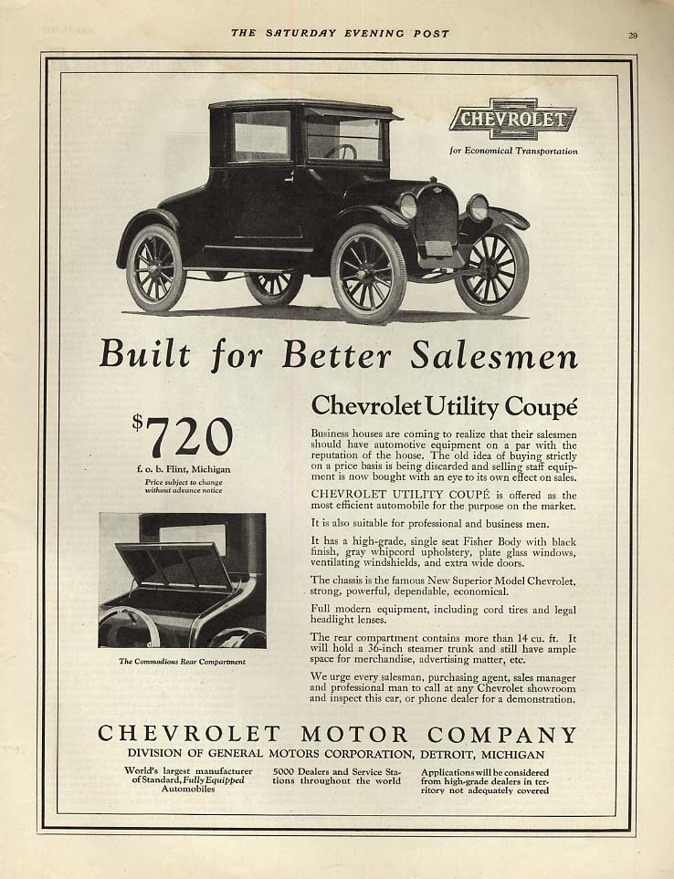 Built for Better Salesmen - Chevrolet Utility Coupe ad 1922 SEP